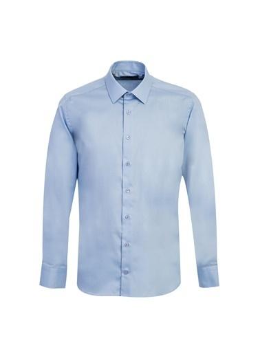 Kiğılı Uzun Kol Non Iron Slim Fit Gömlek Mavi